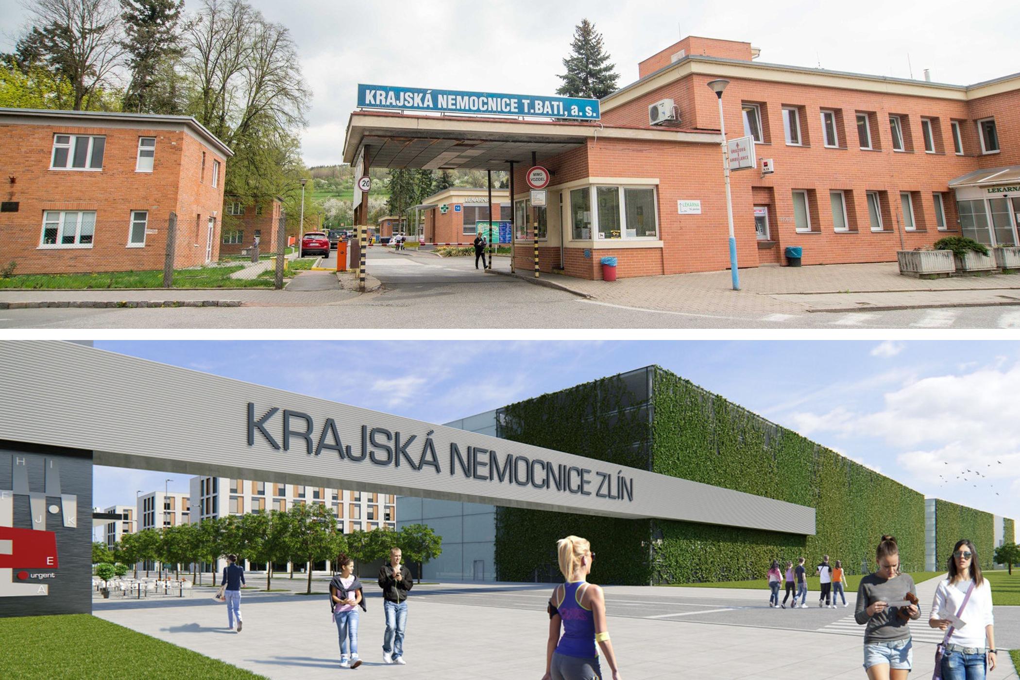Stávající versus nová krajská nemocnice ve Zlíně