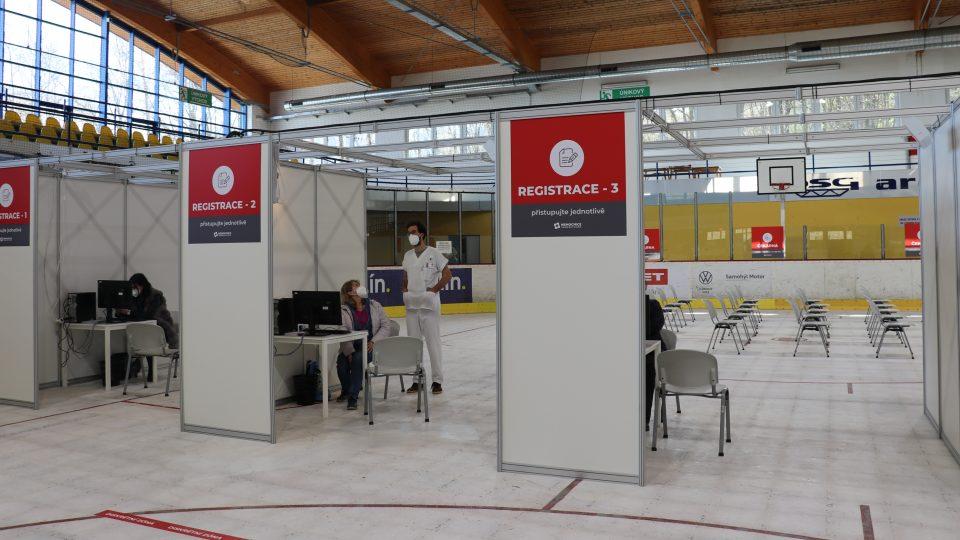 Velkokapacitní očkovací centrum Zlín, PSG Aréna v den otevření 26. drubna 2021