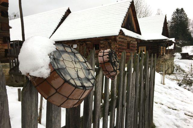 Dřevěné stavby v muzeu v Rožnově