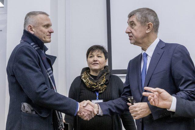 Radomír Maráček a Lenka Mergenthalová při návštěvě premiéra Babiše v Kroměříži
