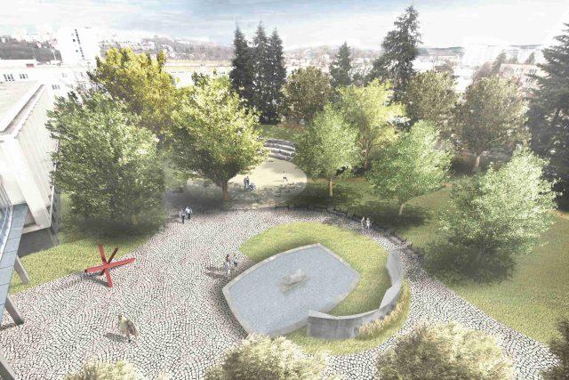 Vizualizace vítězného návrhu řešení parku za Městským divadlem Zlín