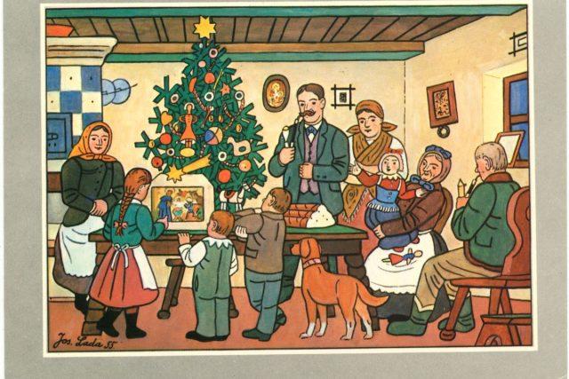 Klasická vánoční pohlednice od Josefa Lady