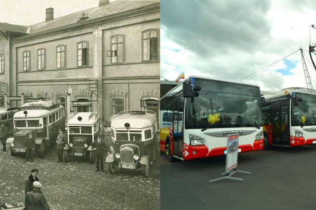 Historické a moderní vozy Dopravního podniku města Hradec Králové