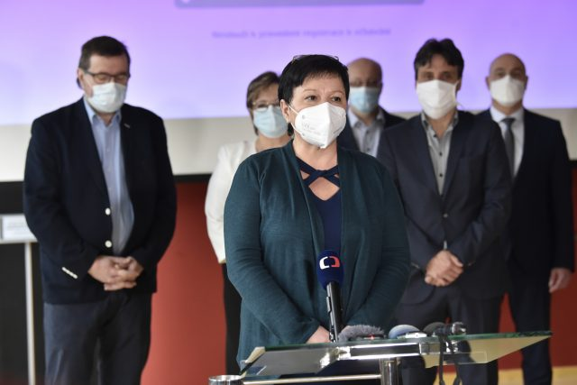 Lenka Mergenthalová na tiskové konferenci po jmenování ředitelkou Kroměřížské nemocnice 2021