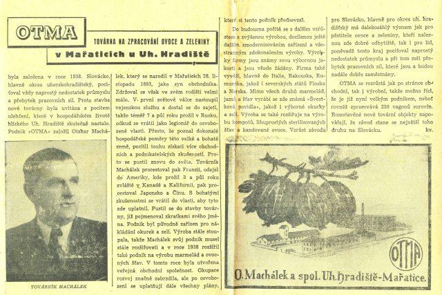 Novinový článek o firmě OTMA a Otakaru Machálkovi