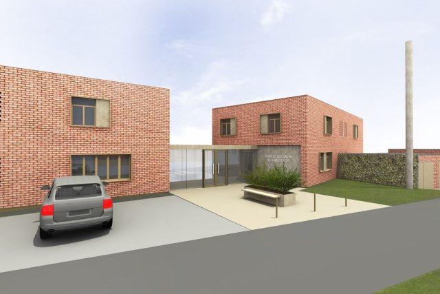 Vizualizace přestavby baťovských domků na Letné na chráněné byty