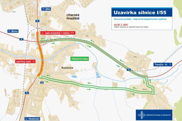 Uzavírka Kunovice 2021 - objízdná trasa | foto:  Ředitelství silnic a dálnic